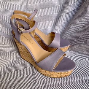 ANTHROPOLOGIE - Purple Cork Platform Wedge
